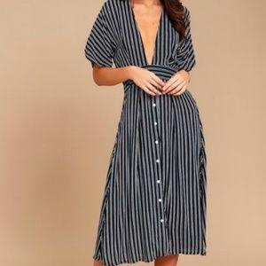 Dresses & Skirts - FAITHFULL THE BRAND MUSTANG BLUE STRIPE MIDI DRESS